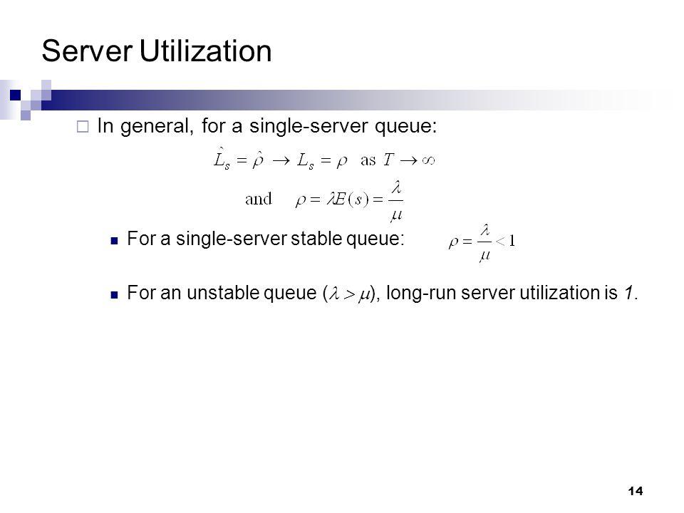 14 Server Utilization  In general, for a single-server queue: For a single-server stable queue: For an unstable queue (  ), long-run server utilization is 1.