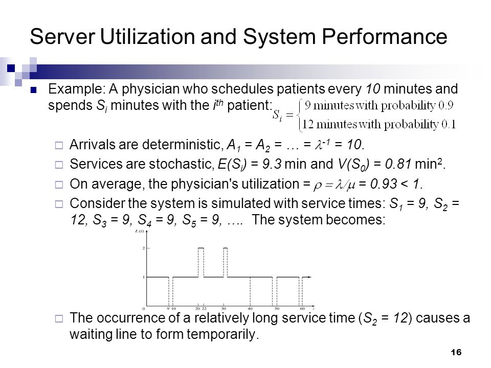 16 Server Utilization and System Performance Example: A physician who schedules patients every 10 minutes and spends S i minutes with the i th patient:  Arrivals are deterministic, A 1 = A 2 = … = -1 = 10.