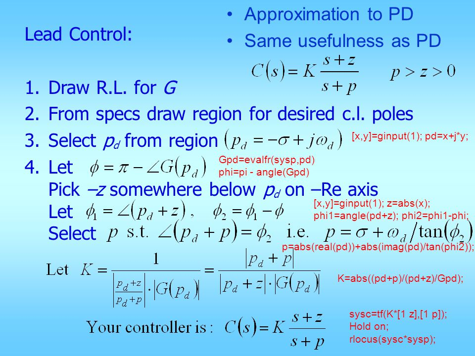 Alternative Lead Control 1.Draw R.L.for G 2.From specs draw region for desired c.l.