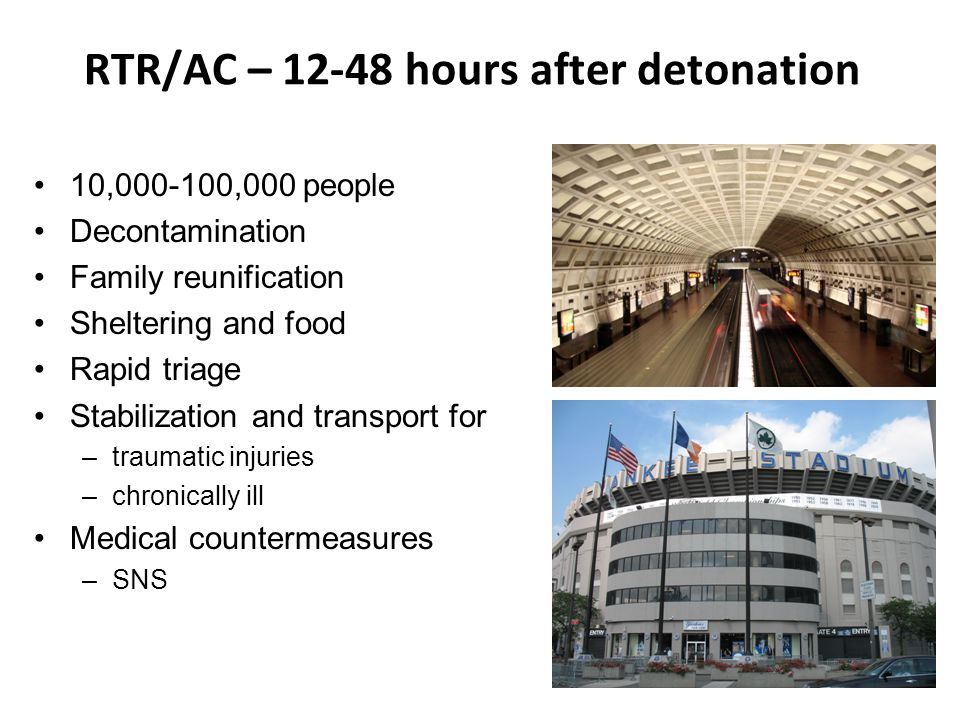 RTR/AC – 12-48 hours after detonation 10,000-100,000 people Decontamination Family reunification Sheltering and food Rapid triage Stabilization and transport for –traumatic injuries –chronically ill Medical countermeasures –SNS