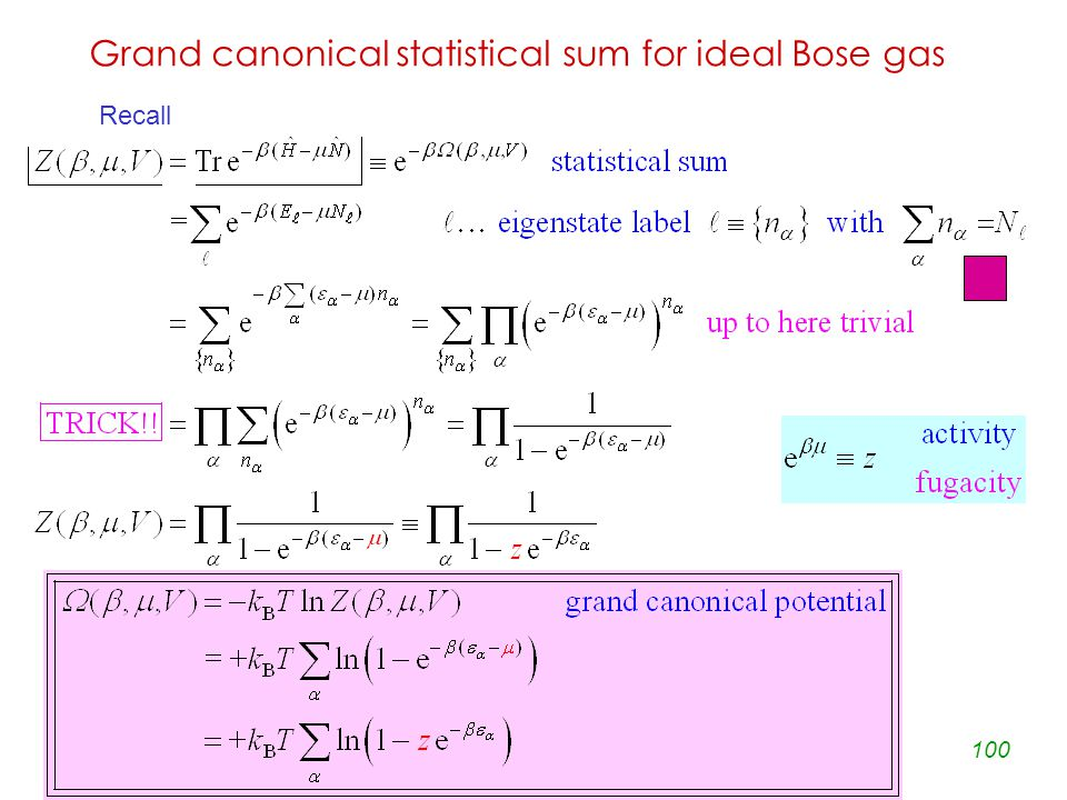 100 Grand canonical statistical sum for ideal Bose gas Recall