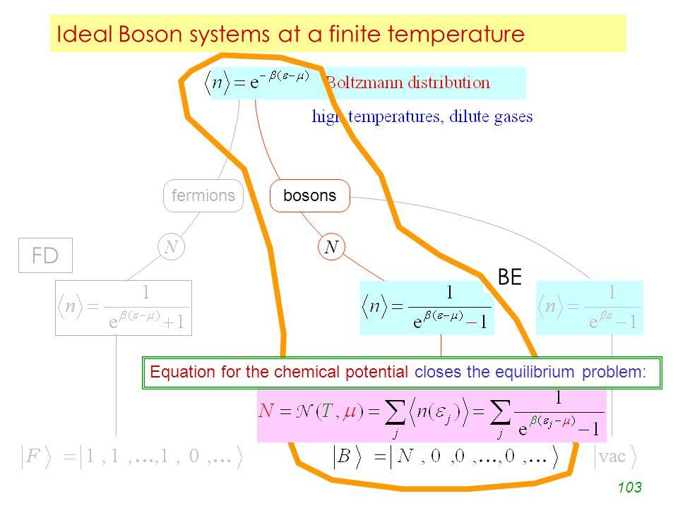 103 Ideal Boson systems at a finite temperature fermionsbosons NN .