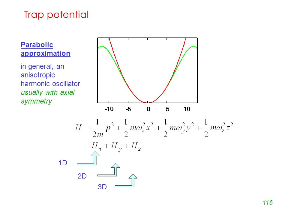 116 Trap potential Parabolic approximation in general, an anisotropic harmonic oscillator usually with axial symmetry 1D 2D 3D