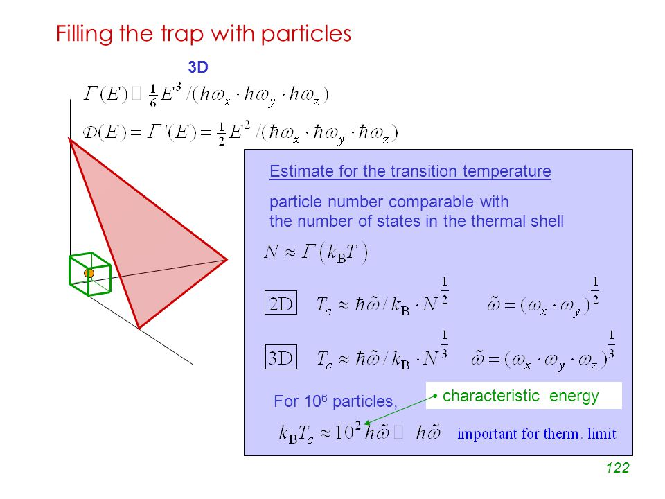 122 Filling the trap with particles 3D Estimate for the transition temperature particle number comparable with the number of states in the thermal shell For 10 6 particles, characteristic energy