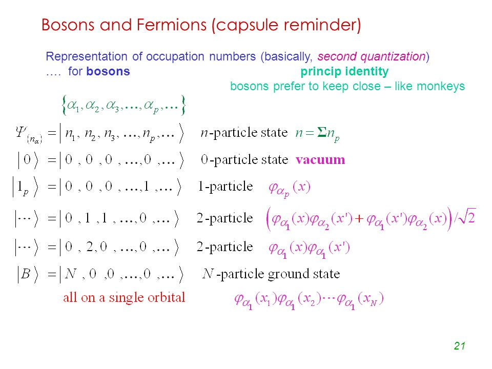 21 Bosons and Fermions (capsule reminder) Representation of occupation numbers (basically, second quantization) ….