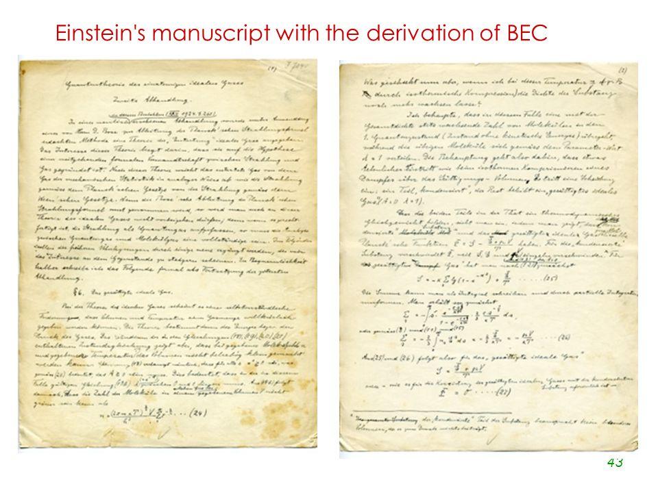 43 Einstein s manuscript with the derivation of BEC