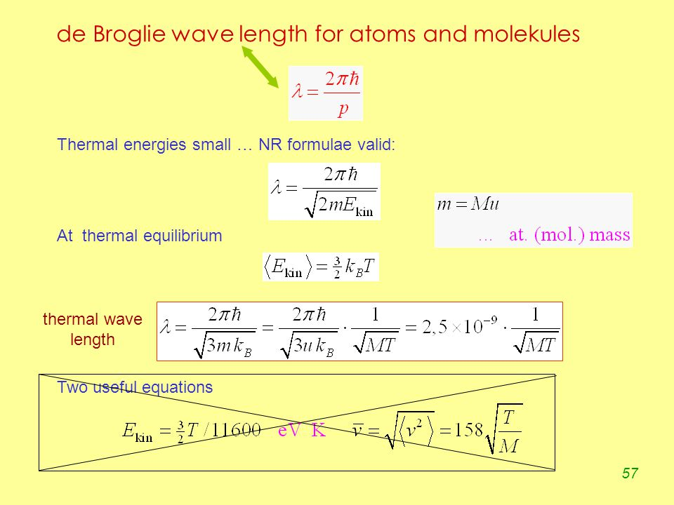 57 de Broglie wave length for atoms and molekules Thermal energies small … NR formulae valid: At thermal equilibrium Two useful equations thermal wave length
