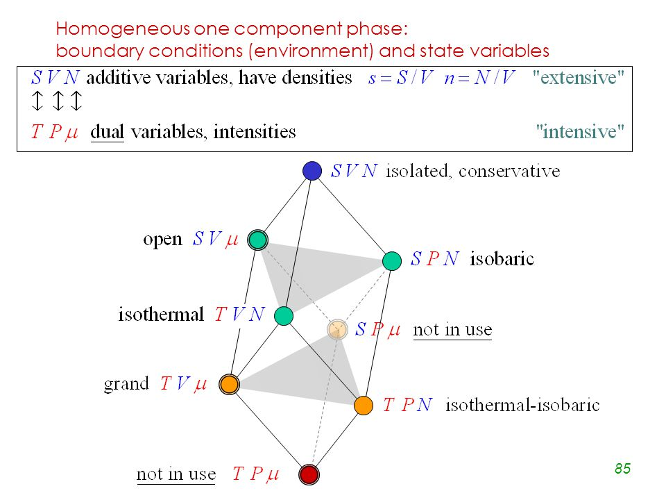 85 Homogeneous one component phase: boundary conditions (environment) and state variables