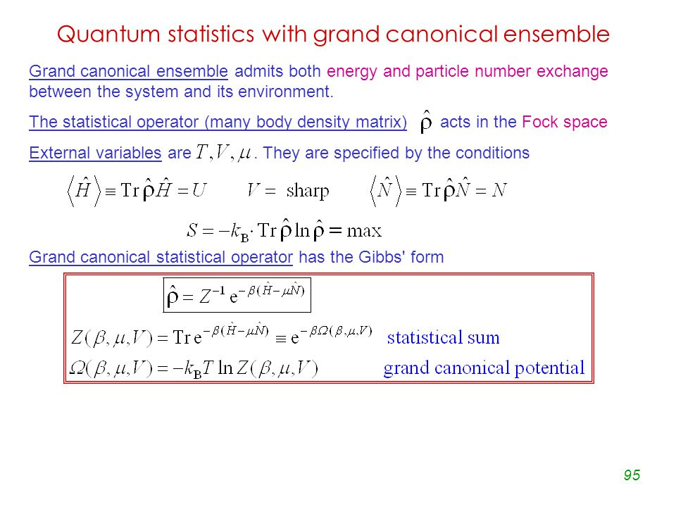 95 Quantum statistics with grand canonical ensemble Grand canonical ensemble admits both energy and particle number exchange between the system and its environment.