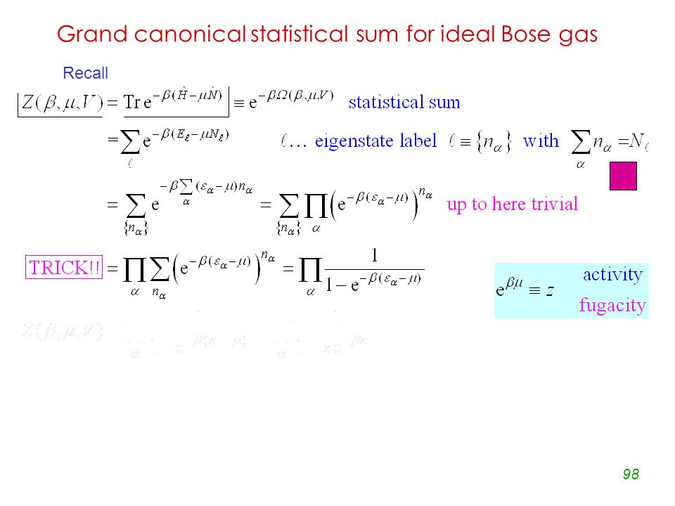 98 Grand canonical statistical sum for ideal Bose gas Recall