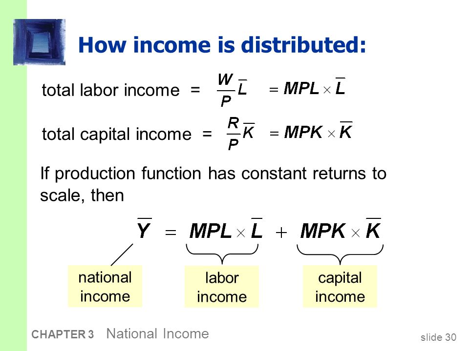slide 30 CHAPTER 3 National Income How income is distributed: total labor income = If production function has constant returns to scale, then total ca