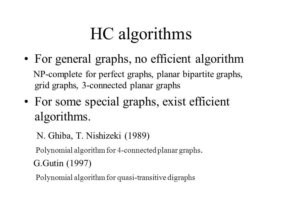 HC algorithms For general graphs, no efficient algorithm NP-complete for perfect graphs, planar bipartite graphs, grid graphs, 3-connected planar graphs For some special graphs, exist efficient algorithms.