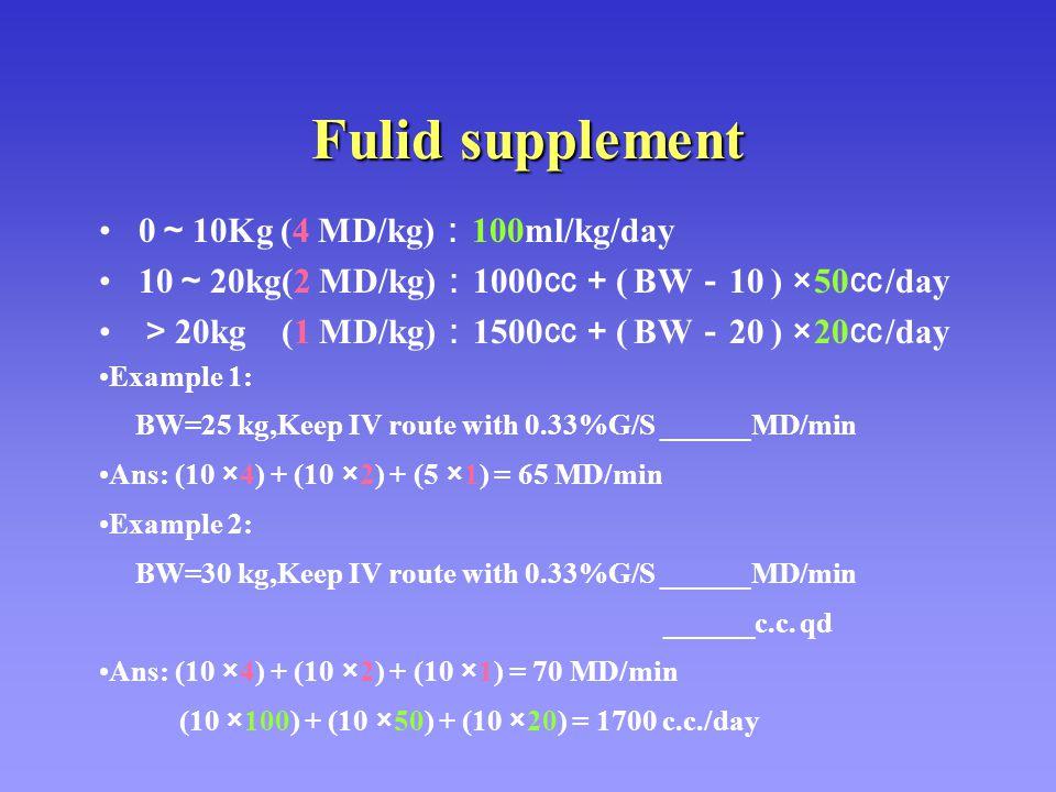 Fulid supplement 0 ~ 10Kg (4 MD/kg) : 100ml/kg/day 10 ~ 20kg(2 MD/kg) : 1000 ㏄+ ( BW - 10 ) ×50 ㏄ /day > 20kg (1 MD/kg) : 1500 ㏄+ ( BW - 20 ) ×20 ㏄ /d