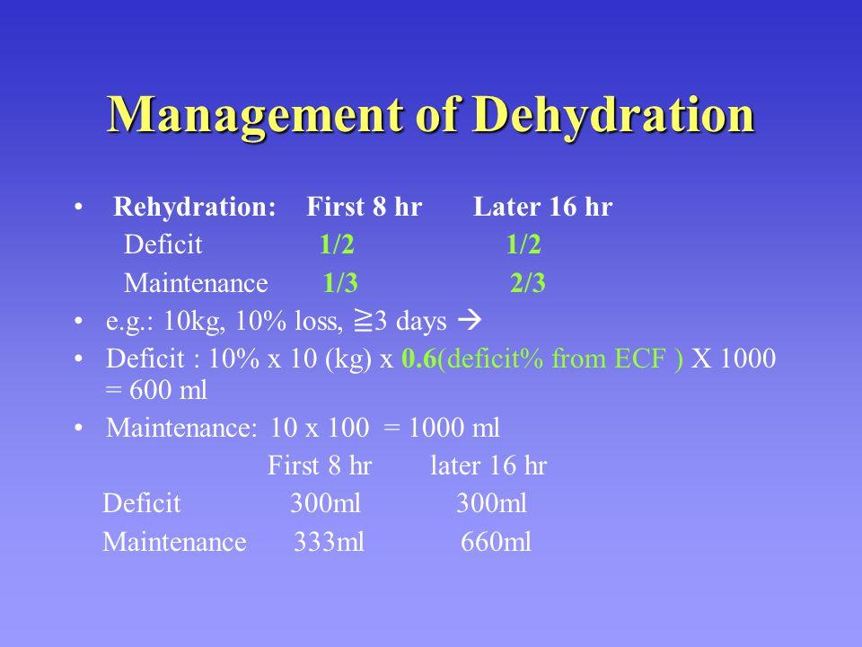 Management of Dehydration Rehydration: First 8 hr Later 16 hr Deficit 1/2 1/2 Maintenance 1/3 2/3 e.g.: 10kg, 10% loss, ≧ 3 days  Deficit : 10% x 10