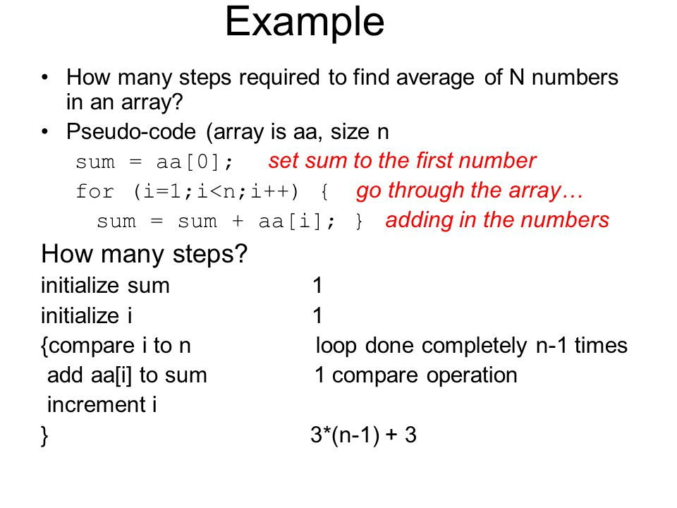 Example How many steps required to find average of N numbers in an array.
