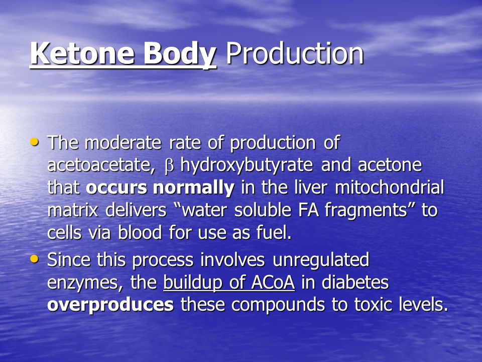 Ketone Body Production The moderate rate of production of acetoacetate,  hydroxybutyrate and acetone that occurs normally in the liver mitochondrial matrix delivers water soluble FA fragments to cells via blood for use as fuel.