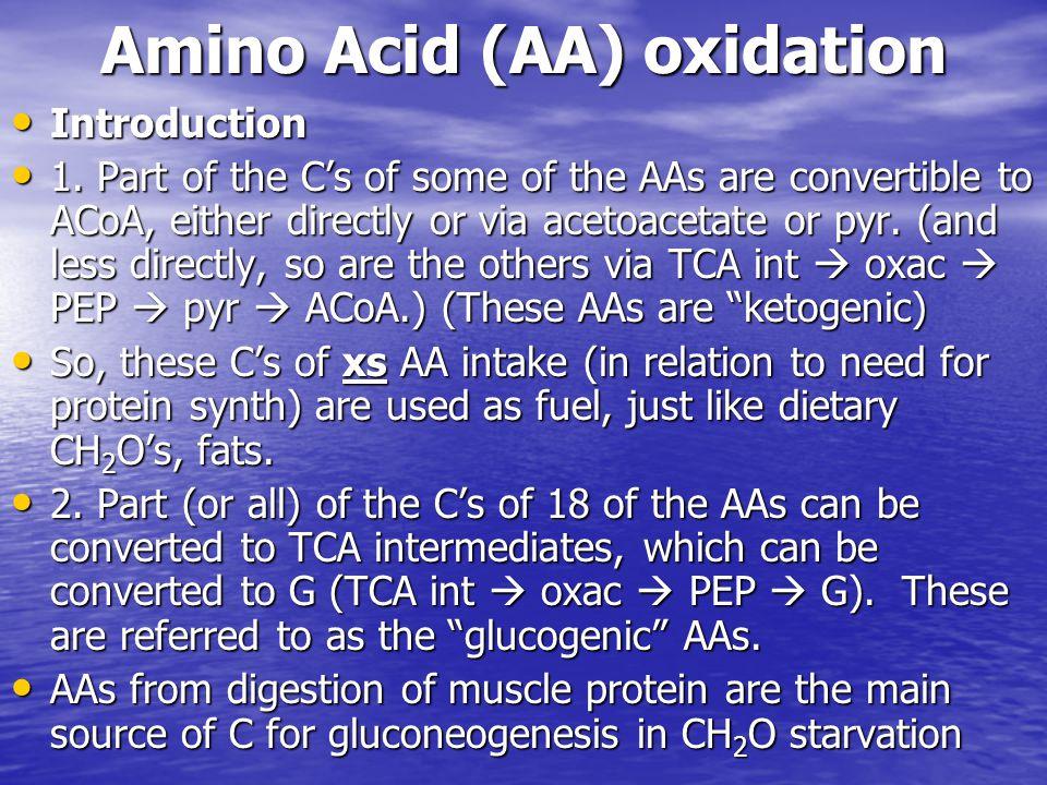 Amino Acid (AA) oxidation Introduction Introduction 1.