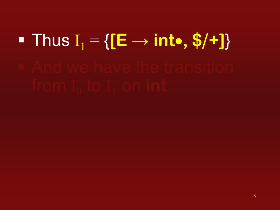 15  Thus I 1 = { [E → int , $ / +] }  And we have the transition from I 0 to I 1 on int