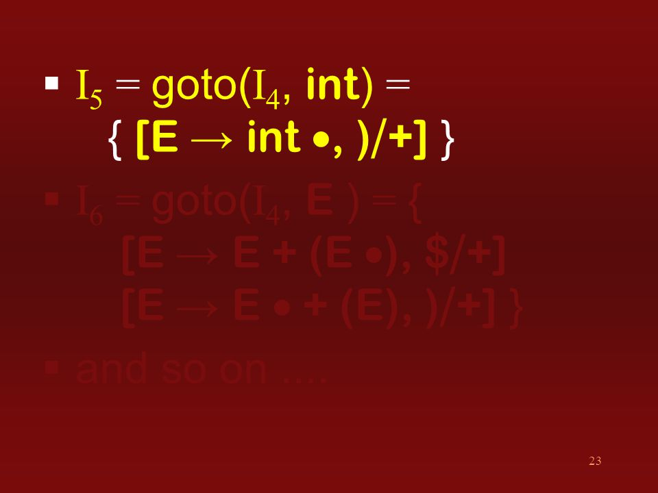 23  I 5 = goto( I 4, int ) = { [E → int , ) / +] }  I 6 = goto( I 4, E ) = { [E → E + (E  ), $ / +] [E → E  + (E), ) / +] }  and so on....
