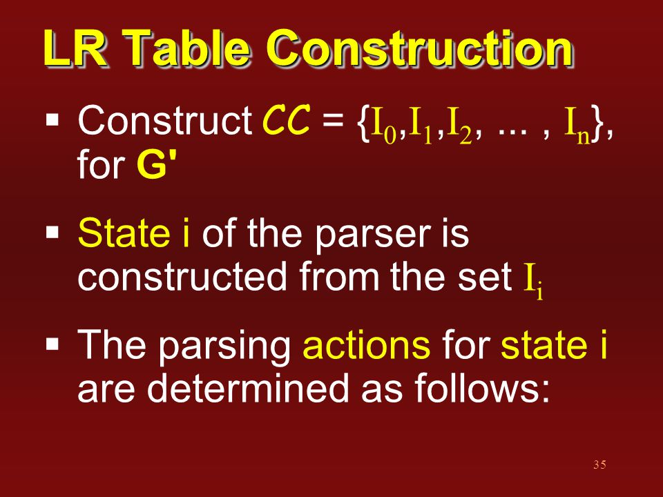 35 LR Table Construction  Construct CC = { I 0, I 1, I 2,..., I n }, for G'  State i of the parser is constructed from the set I i  The parsing act