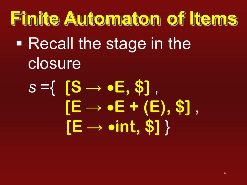 4  Recall the stage in the closure s ={ [S →  E, $], [E →  E + (E), $], [E →  int, $] } Finite Automaton of Items