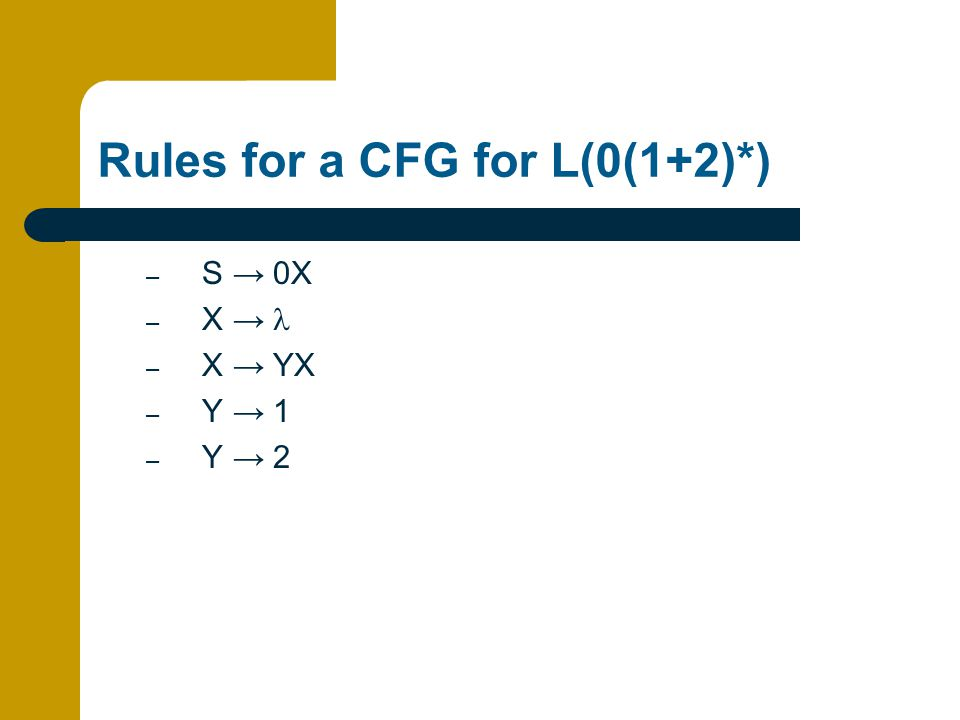Rules for a CFG for L(0(1+2)*) – S → 0X – X → – X → YX – Y → 1 – Y → 2