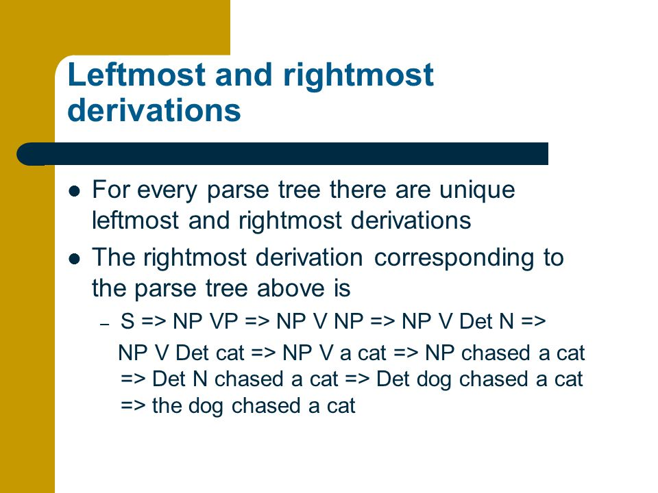 Leftmost and rightmost derivations For every parse tree there are unique leftmost and rightmost derivations The rightmost derivation corresponding to the parse tree above is – S => NP VP => NP V NP => NP V Det N => NP V Det cat => NP V a cat => NP chased a cat => Det N chased a cat => Det dog chased a cat => the dog chased a cat