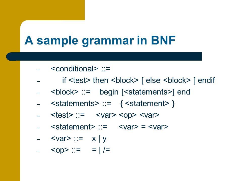 A sample grammar in BNF – ::= – if then [ else ] endif – ::= begin [ ] end – ::= { } – ::= – ::= = – ::= x | y – ::= = | /=