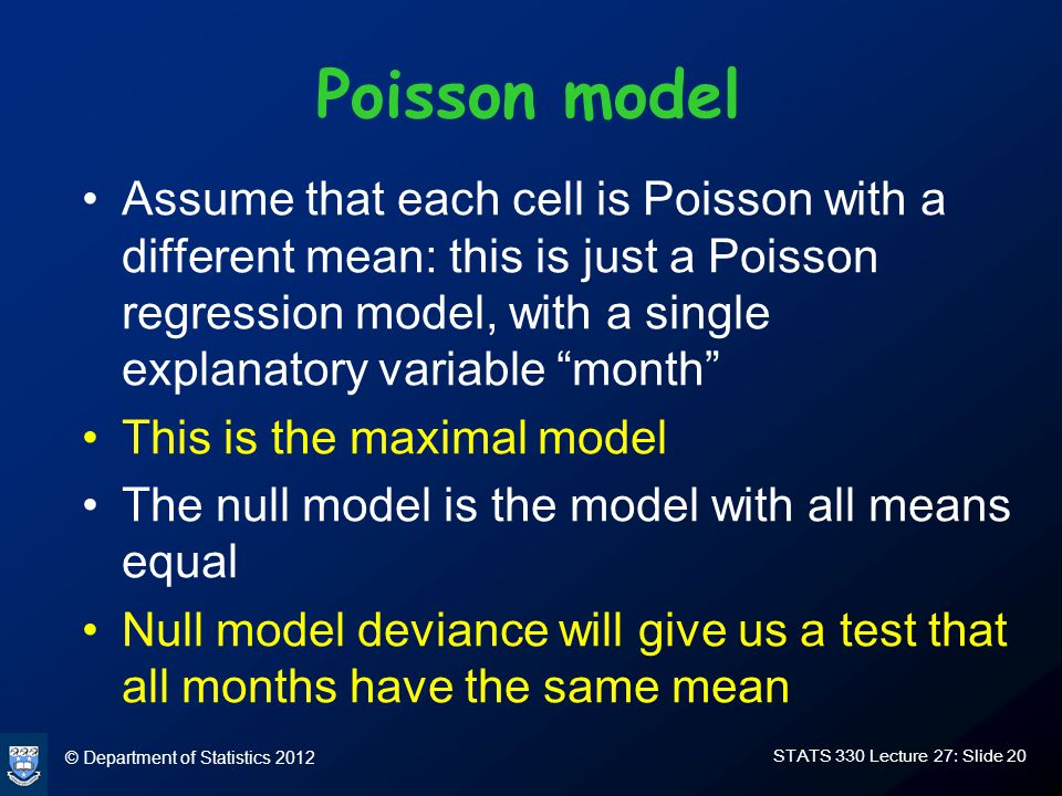 © Department of Statistics 2012 STATS 330 Lecture 27: Slide 20 Poisson model Assume that each cell is Poisson with a different mean: this is just a Poisson regression model, with a single explanatory variable month This is the maximal model The null model is the model with all means equal Null model deviance will give us a test that all months have the same mean