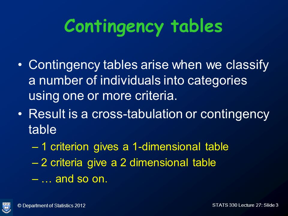© Department of Statistics 2012 STATS 330 Lecture 27: Slide 3 Contingency tables Contingency tables arise when we classify a number of individuals into categories using one or more criteria.