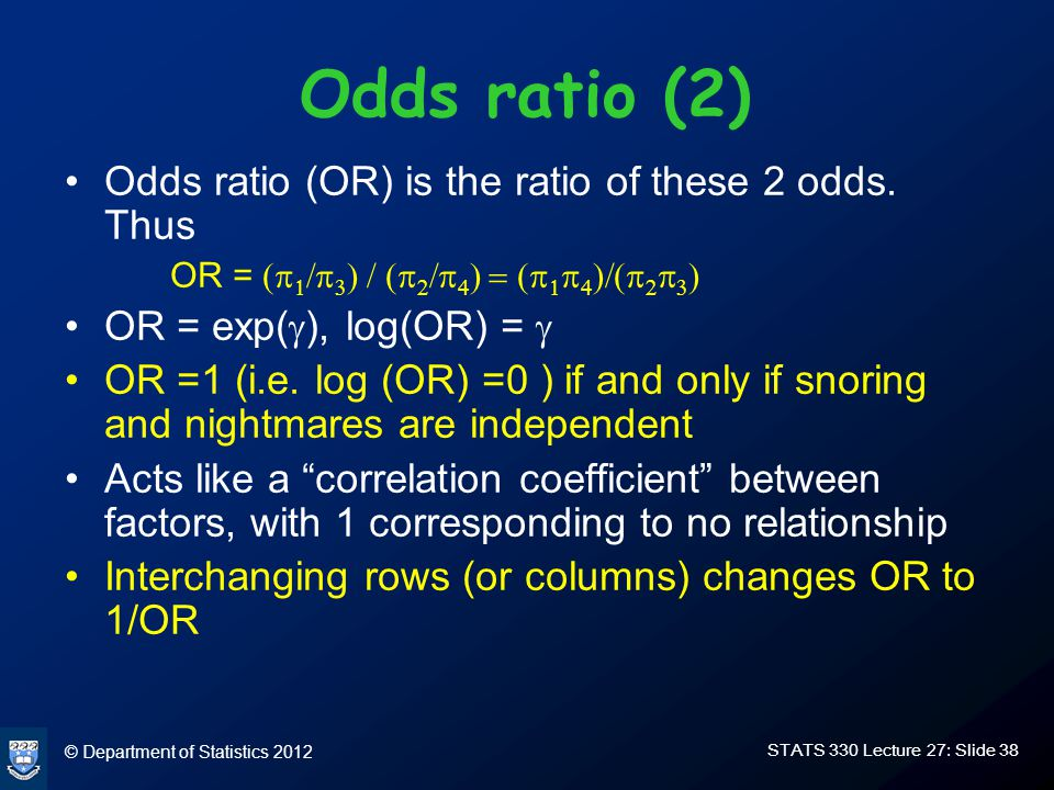 © Department of Statistics 2012 STATS 330 Lecture 27: Slide 38 Odds ratio (2) Odds ratio (OR) is the ratio of these 2 odds.