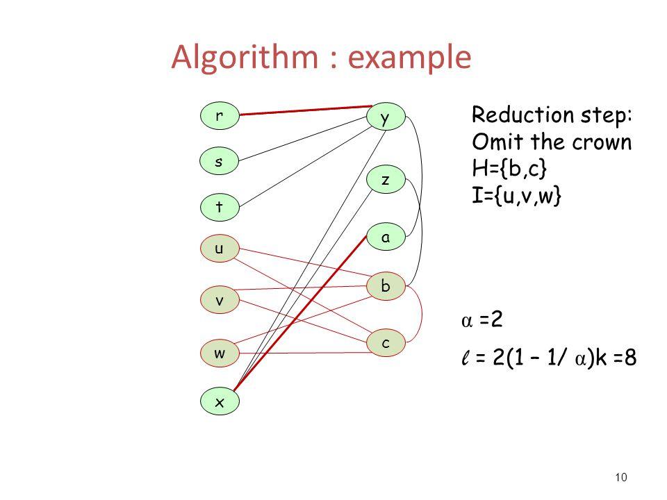 10 Algorithm : example a z y t u x c b w r s v Reduction step: Omit the crown H={b,c} I={u,v,w} α =2 l = 2(1 – 1/ α )k =8