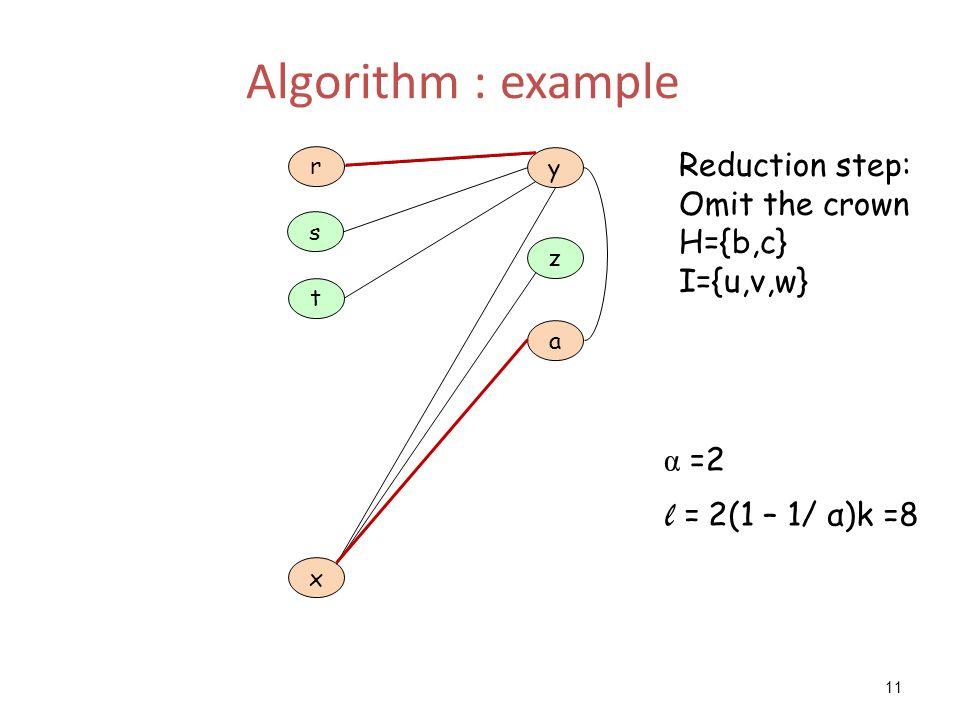 11 Algorithm : example a z y t x r s Reduction step: Omit the crown H={b,c} I={u,v,w} α =2 l = 2(1 – 1/ α)k =8