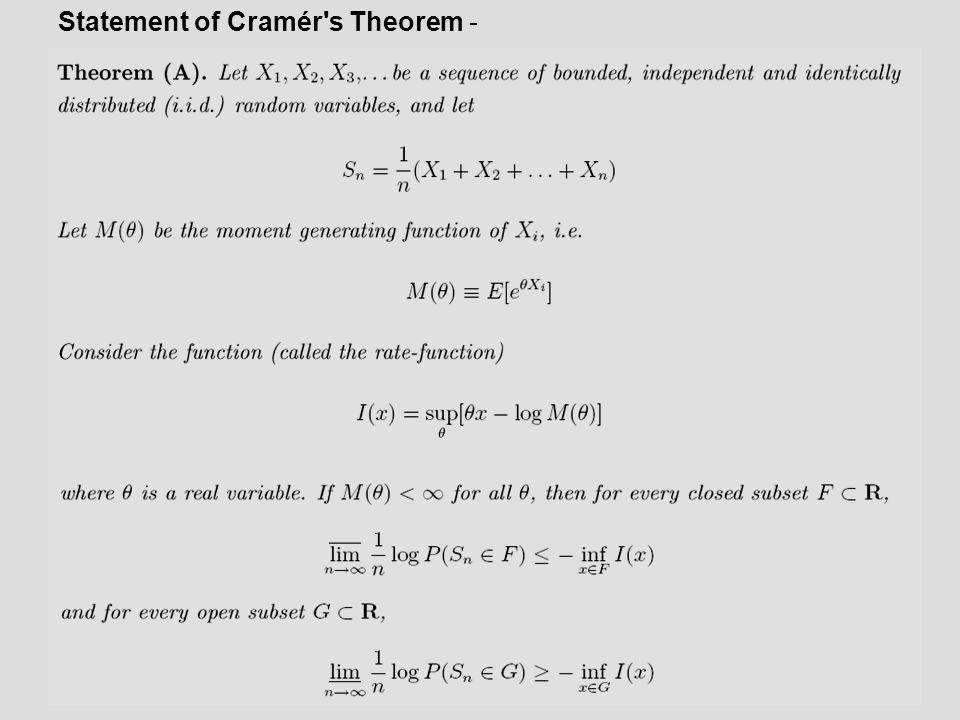 Statement of Cramér s Theorem -
