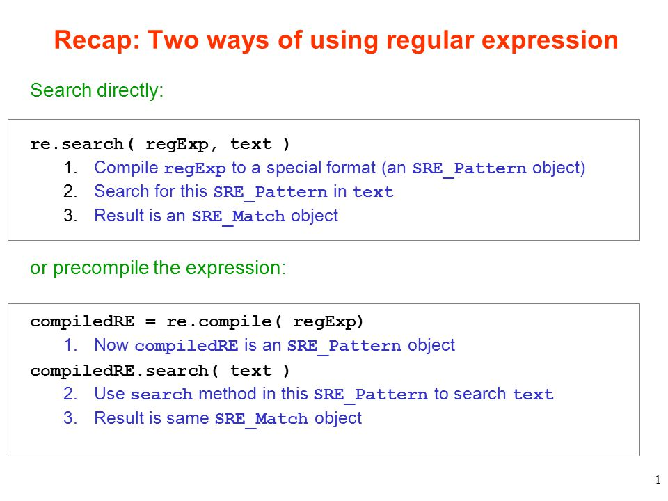 1 Recap: Two ways of using regular expression Search directly: re.search( regExp, text ) 1.Compile regExp to a special format (an SRE_Pattern object) 2.Search for this SRE_Pattern in text 3.Result is an SRE_Match object or precompile the expression: compiledRE = re.compile( regExp) 1.Now compiledRE is an SRE_Pattern object compiledRE.search( text ) 2.Use search method in this SRE_Pattern to search text 3.Result is same SRE_Match object