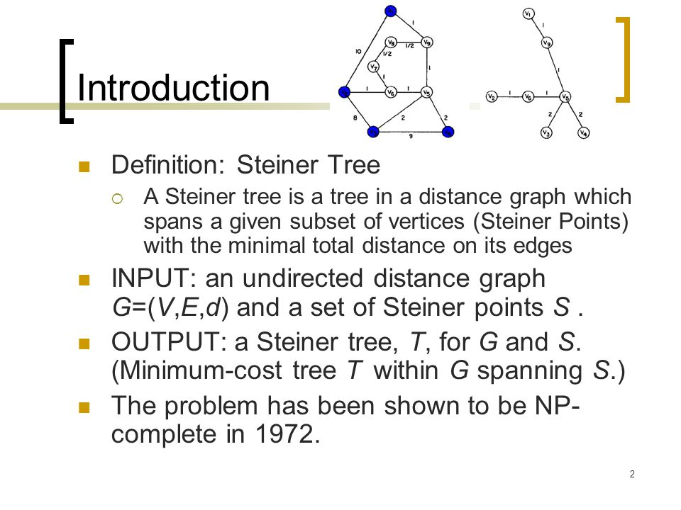 2 Introduction Definition: Steiner Tree  A Steiner tree is a tree in a distance graph which spans a given subset of vertices (Steiner Points) with the minimal total distance on its edges INPUT: an undirected distance graph G=(V,E,d) and a set of Steiner points S.