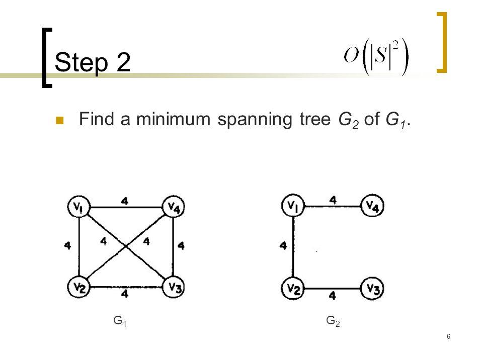 6 Step 2 Find a minimum spanning tree G 2 of G 1. G1G1 G2G2