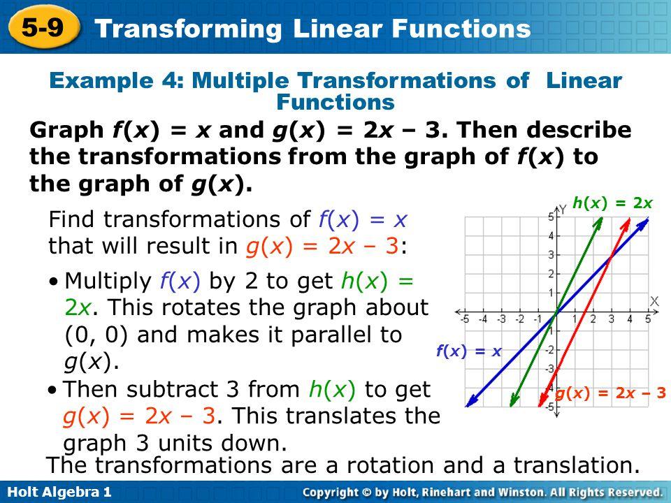 Holt Algebra 1 5-9 Transforming Linear Functions Example 4: Multiple Transformations of Linear Functions Graph f(x) = x and g(x) = 2x – 3. Then descri