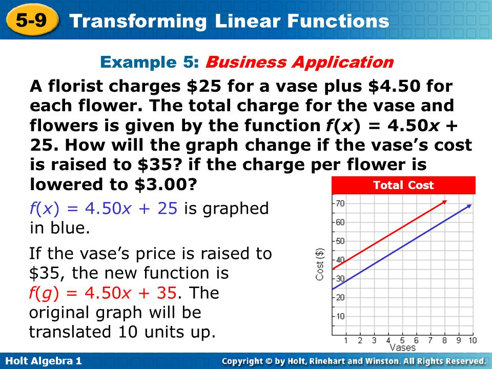 Holt Algebra 1 5-9 Transforming Linear Functions Example 5: Business Application A florist charges $25 for a vase plus $4.50 for each flower. The tota
