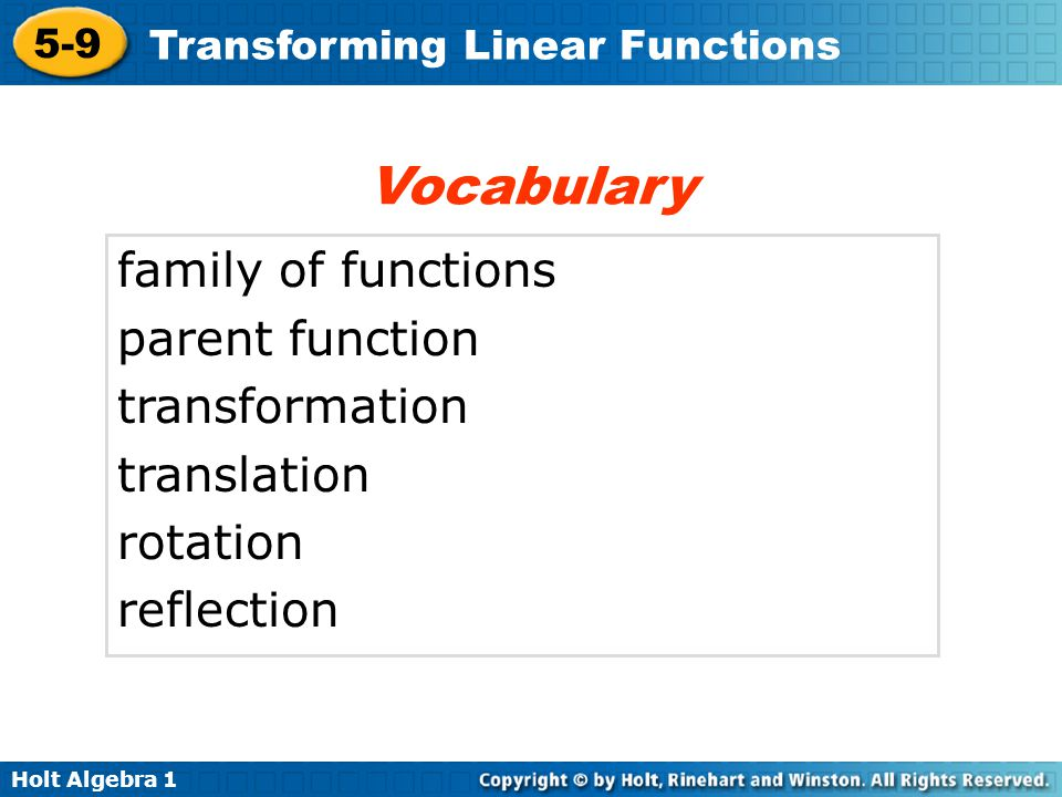 Holt Algebra 1 5-9 Transforming Linear Functions Check It Out.