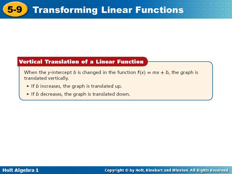 Holt Algebra 1 5-9 Transforming Linear Functions