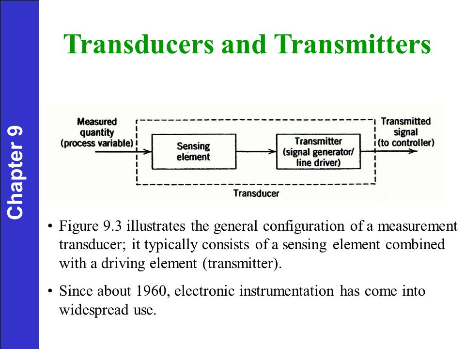 Figure 9.3 illustrates the general configuration of a measurement transducer; it typically consists of a sensing element combined with a driving element (transmitter).
