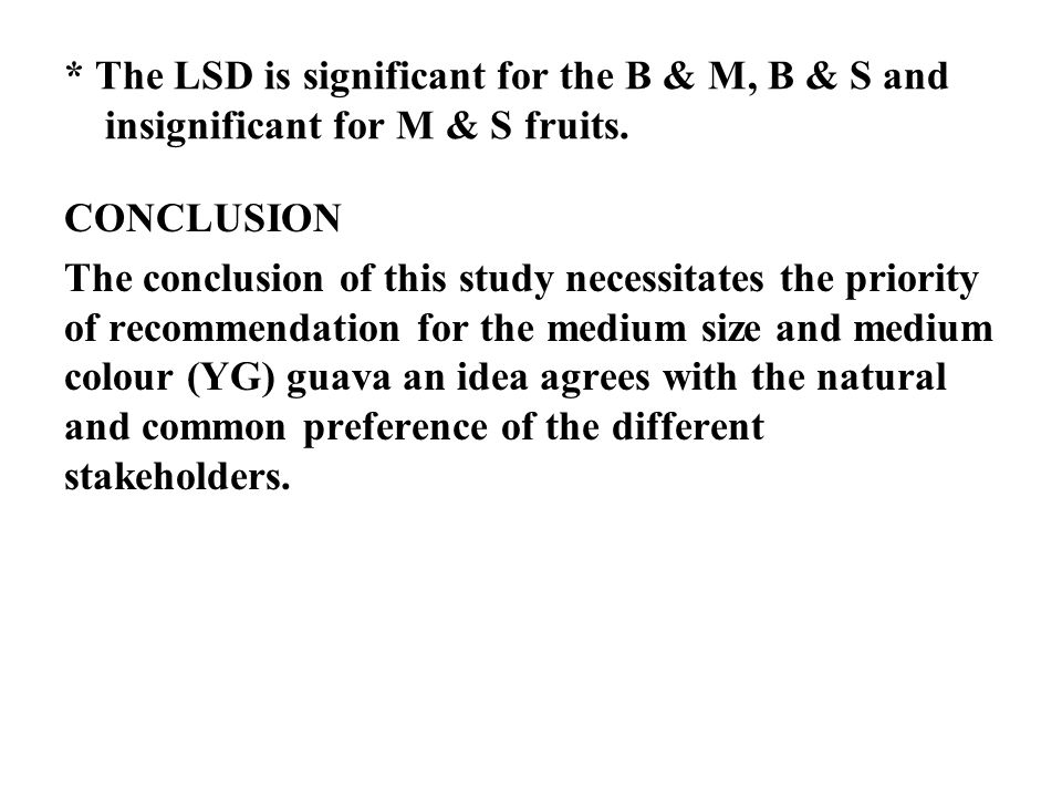 * The LSD is significant for the B & M, B & S and insignificant for M & S fruits.