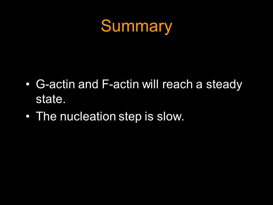 Summary G-actin and F-actin will reach a steady state. The nucleation step is slow.