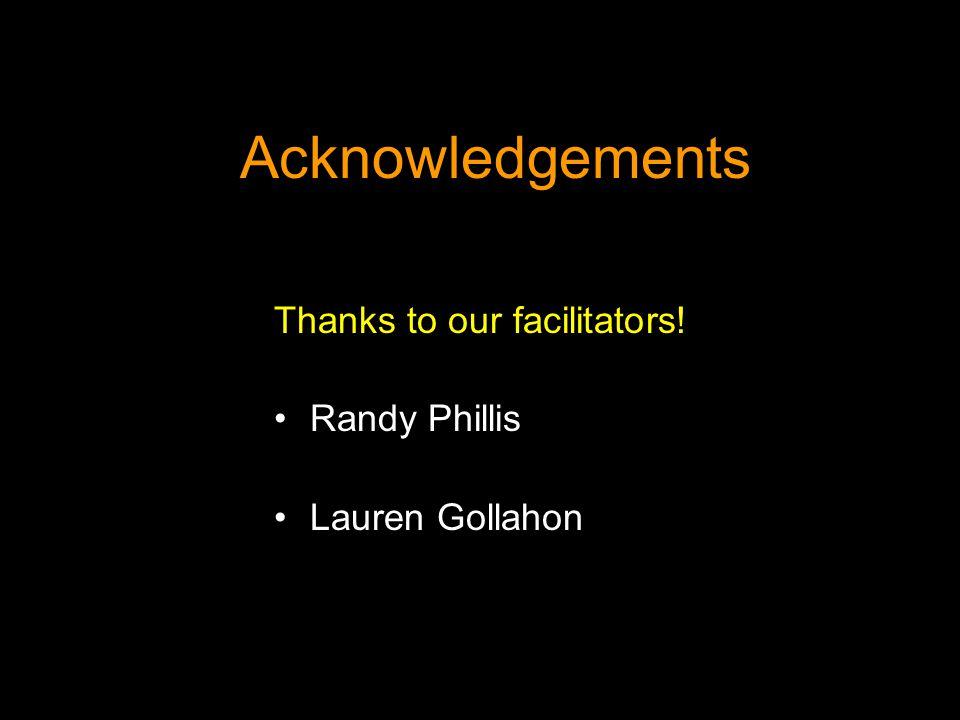 Acknowledgements Thanks to our facilitators! Randy Phillis Lauren Gollahon