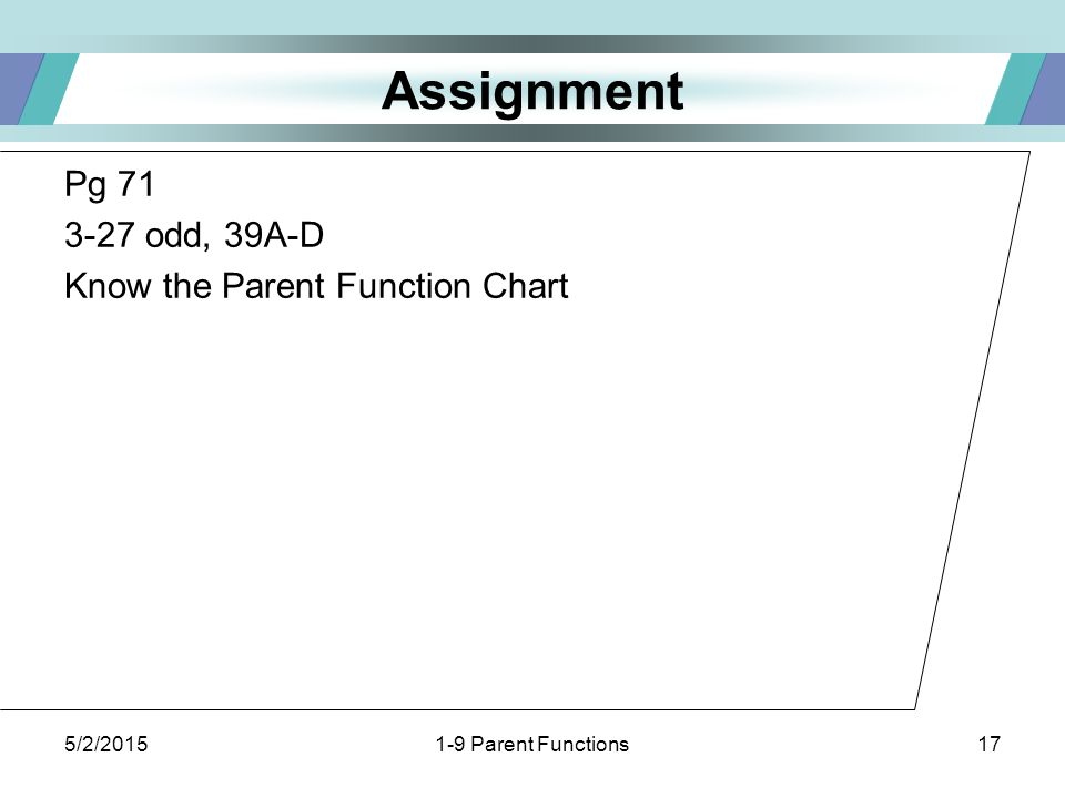 5/2/20151-9 Parent Functions17 Assignment Pg 71 3-27 odd, 39A-D Know the Parent Function Chart