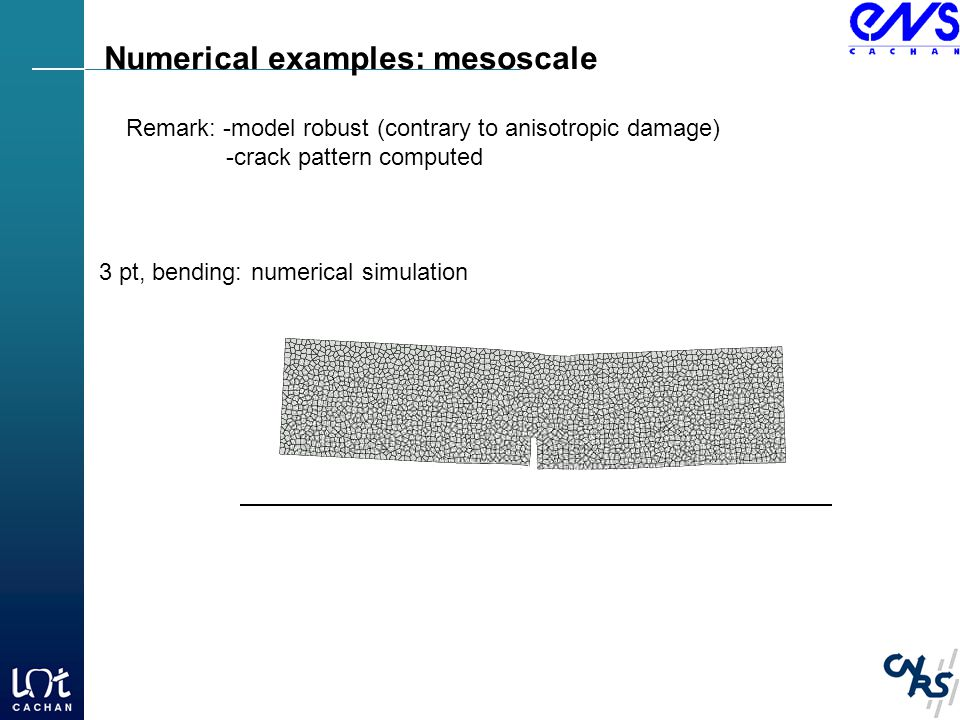 Numerical examples: mesoscale Remark: -model robust (contrary to anisotropic damage) -crack pattern computed 3 pt, bending: numerical simulation
