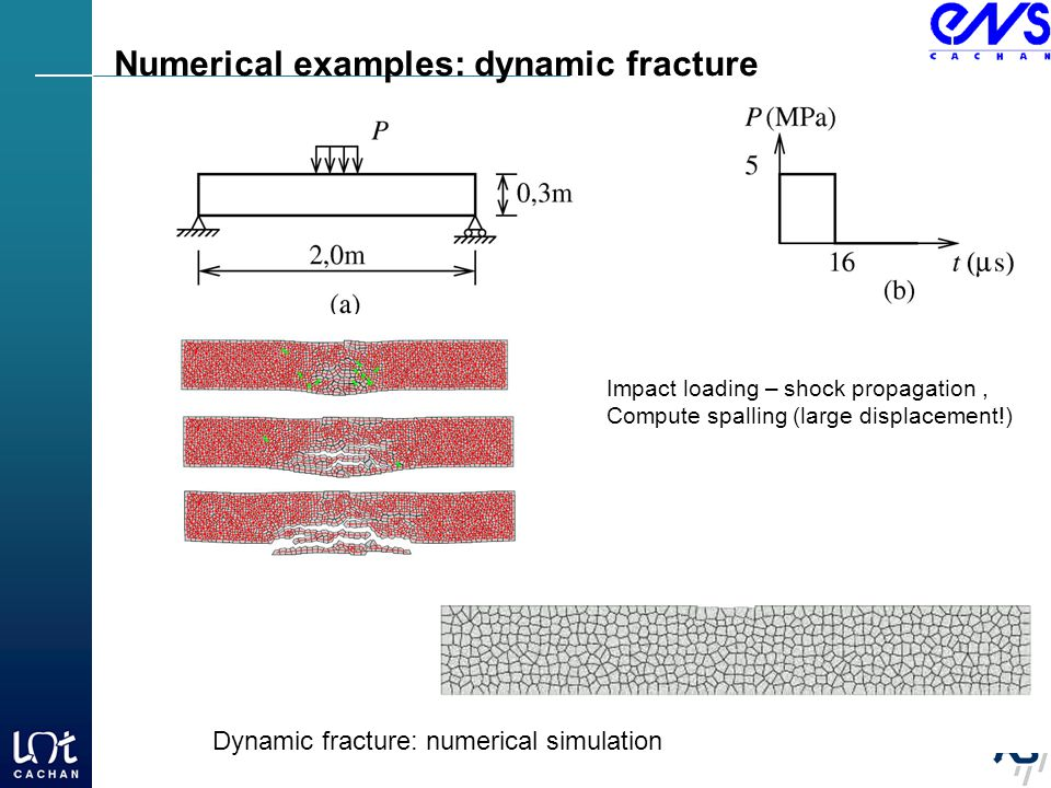 Impact loading – shock propagation, Compute spalling (large displacement!) Numerical examples: dynamic fracture Dynamic fracture: numerical simulation
