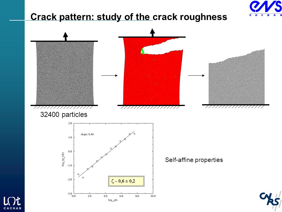  ~ 0,6 ± 0,2 Crack pattern: study of the crack roughness Self-affine properties 32400 particles
