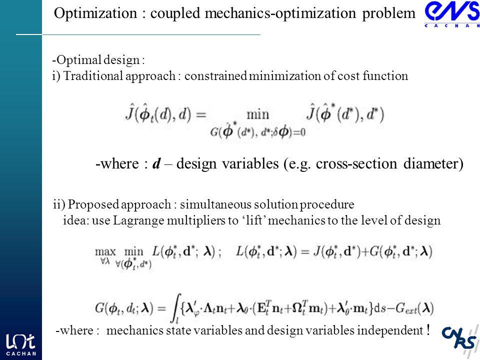 Optimization : coupled mechanics-optimization problem -where : d – design variables (e.g.